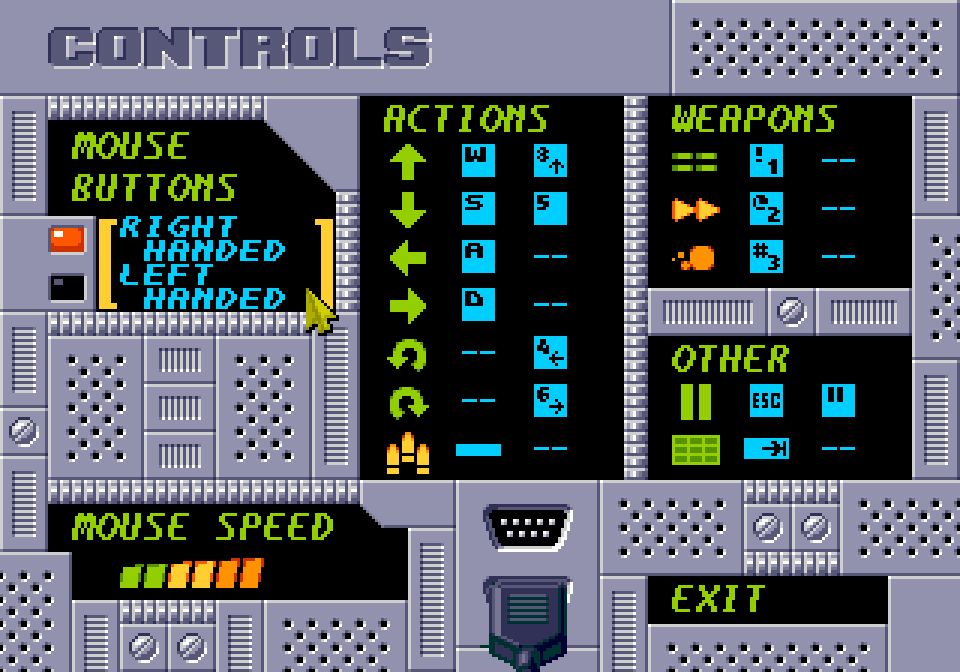 A settings screen. Controls. Mouse buttons: right handed (selected), left handed. Mouse speed: 6 out of 10. Actions: forwards (W and numpad 8), backwards (S and numpad 5), strafe left (A), strafe right (D), turn left (numpad 4), turn right (numpad 6), shoot (spacebar). Weapons: phaser (letters 1), homing (letters 2), blast (letters 3). Others: pause (Esc and Pause), automap (Tab). Exit.